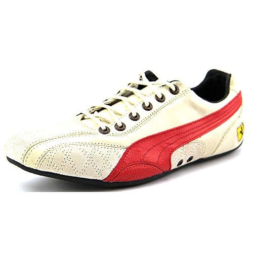 PUMA Womens Ferrari Supersqualo Lo Low Top Leather Fashion Sneaker Birch / Rosso Corsa