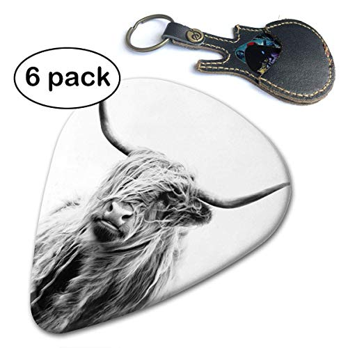 Portrait of A Highland Cow Black and White Guitar Picks 6-Pack.46mm