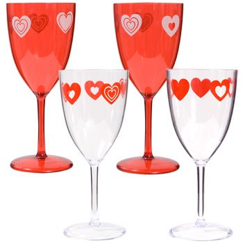 Amazon Com Valentine S Day Hearts Disposable Goblets Wine Glasses