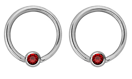 Pair of 14g 12mm Every-Day Surgical Steel Red Jeweled Captive Bead Ring Body Piercing Hoops