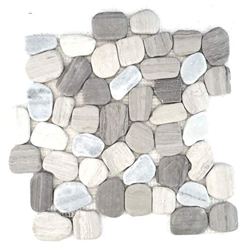 Interlocking Pebble Floor Tiles (10-Sheets) Kitchen, Bathroom, and Patio Flooring | Indoor and Outdoor Use | Natural Auburn White |Grey Stones | Quick and Easy Grout Installation (Patio Designs Mosaic Pebble)