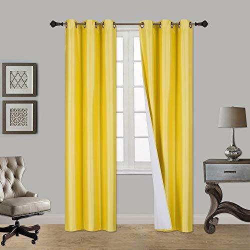 Superior Home (2 Panels Grommet Faux Silk Satin Blackout Window Curtain Panels 84