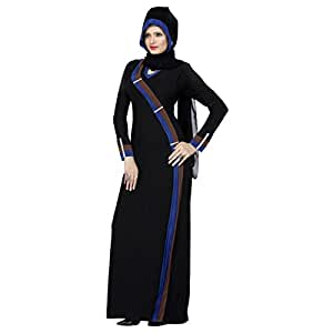 Smart Black Colored Stone Worked Lycra Burka by Triveni