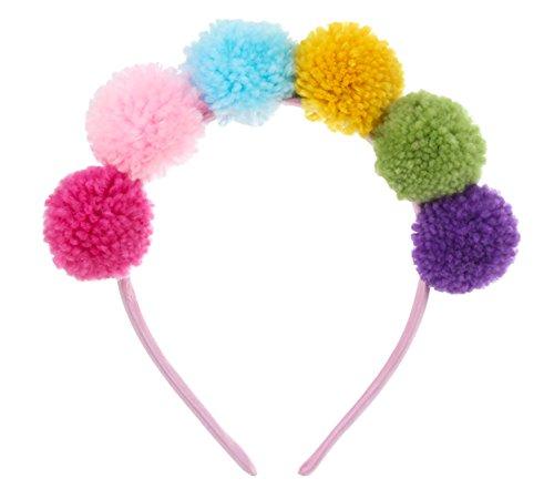 VOGUEKNOCK Ear Headband Pompom Ball Hair Loop Costume Pompom Ball Headband Hair Jewelry -