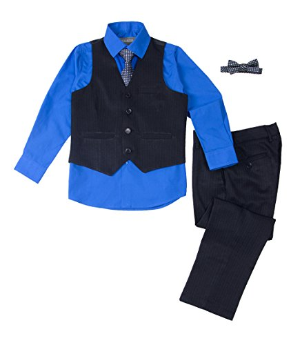 (Spring Notion Baby Boys' 5 Piece Pinstripe Vest Set Cobalt Blue 12M)