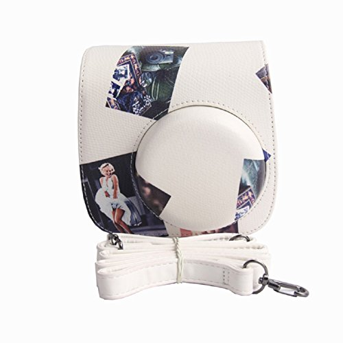 Coromose Durable Metallic Leather Camera Bag For FUJIFILM Instax Mini8 Mini8s (White)