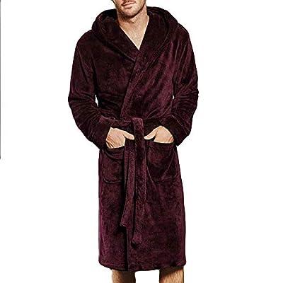 Men's Winter Bathrobe Sleepwear Long Coral Fleece Long Sleeved Solid Thick Robe Coat