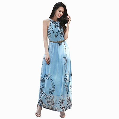 Printed Chiffon Long Dress - 1