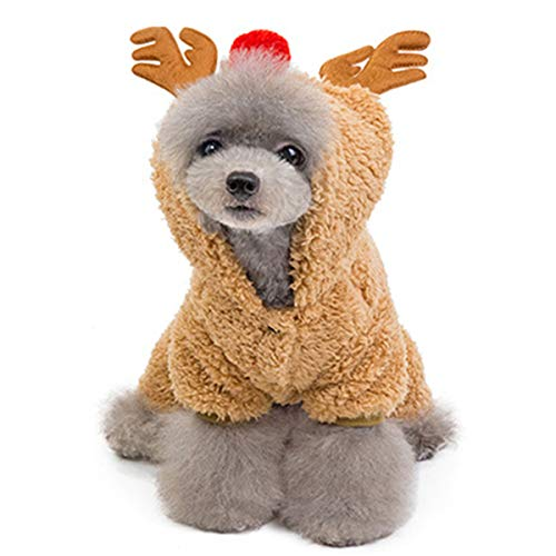 Lovinouse Pet Christmas Reindeer Costumes, Dog Velveteen Hoodie Coat Clothes, Dogs Elk Xmas Costume for Kitten and Puppy Cosplay New Year Dressing up Party (XL) (Kitten New For Christmas)