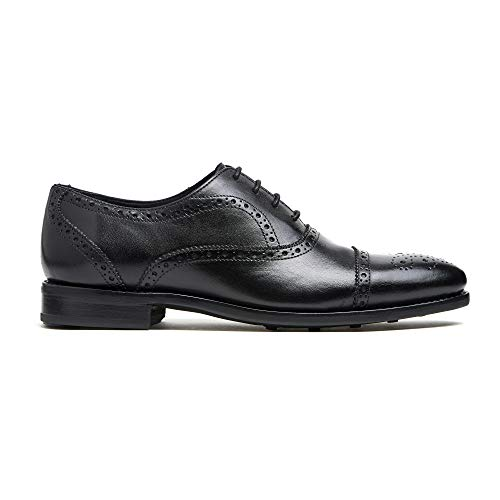 - Timberlux New York Black Cap-Toe Brogue Shoes, Men Dress Shoes Goodyear Welted