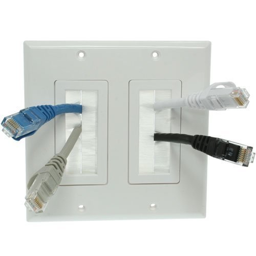 iMBAPrice Dual Gang Wall Plate with Brush Bristles - White (Wall Style Plate)