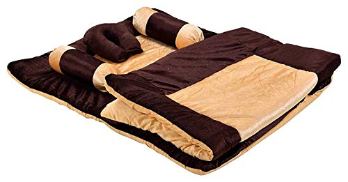 Homescape Baby Velvet 5 Pcs. Bedding Set with Neck Pillow,Mattress, Quilt,Two Boosters (0-18 Months) (Brown)
