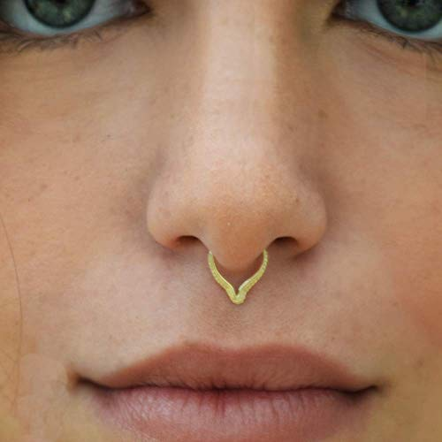 Septum Ring 14k Solid Gold 20 gauge 8mm Inner Hoop Diameter Tribal Body Piercings Jewelry Triangle Nose Hoop Cartilage Helix