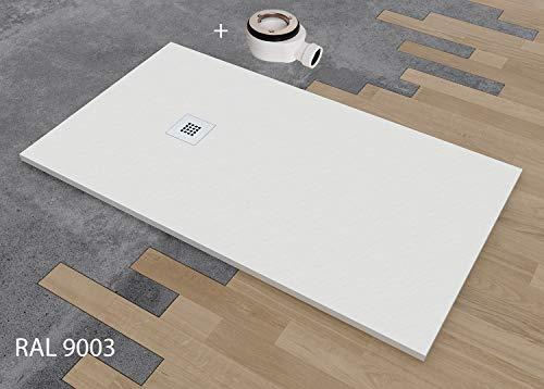 PLATO DE DUCHA DE RESINA TEXTURA PIZARRA CARGA MINERALES VARIAS MEDIDAS Y COLORES (100x110, Blanco): Amazon.es: Bricolaje y herramientas