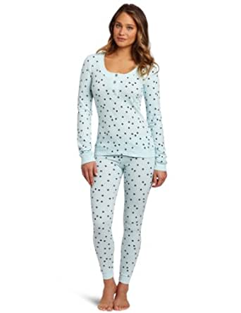 Tommy Hilfiger Women's Thermal Pajama Set, Ditsy Stars Aqua, X-Small