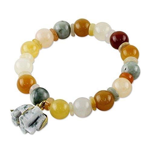 NOVICA Multi-Gem Quartz .925 Yellow Gold Plated Silver Beaded Bracelet, 'Elephant Remembrance'