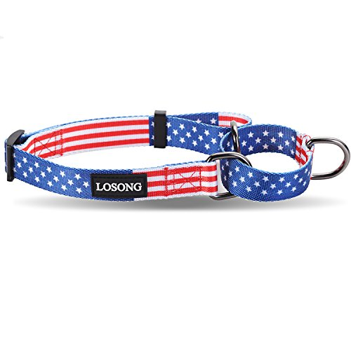 Losong Martingale Dog Collars with USA Flag Pattern,Fashion Safety Adjustable Shiny Polyester Collar with Metal D Ring for Larger Dogs Pet,Neck 18