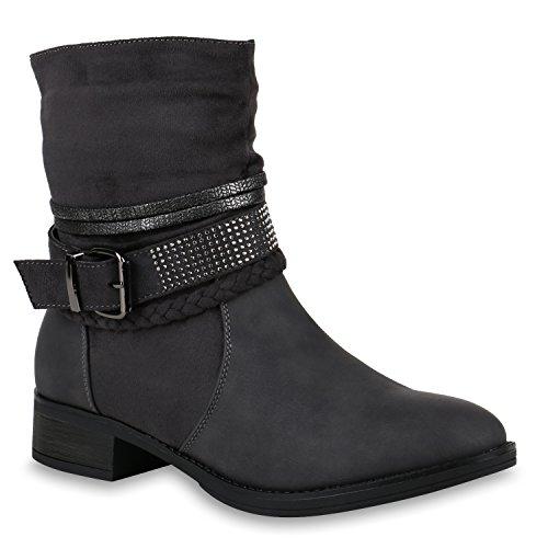 Stiefelparadies Damen Biker Boots Nieten Stiefeletten Metallic Leicht Gefüttert Flandell Grau Strass
