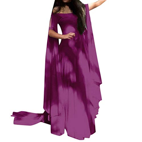 Women Plus Size Off Shoulder Fancy Dress Vintage Medieval Renaissance Costume Retro Cosplay Party Princess Maxi Dress (Purple, -