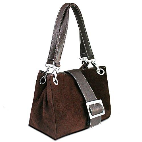 Donne Borsa in pelle camoscio piccola italiana con finiture finta - comprende una borsa di marca deposito protettivo e un fascino 28 x 18 x 11 cm (LxAxP) Marrone (Dark Tan - braun Trim)