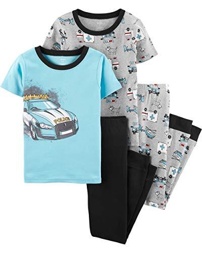 Carter's Boys Snug Fit Cotton PJs Pajamas (Blue/Heather Police Car, 4)
