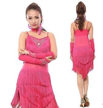 vestido de flecos mujer de la competencia de baile latino , m