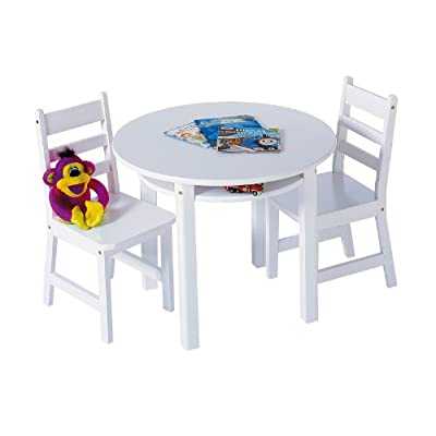 Lipper International Child's Round Table with Shelf and 2 Chairs, White: Kitchen & Dining