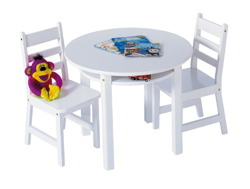 Lipper International 524W Child's Round Table with Shelf and 2 Chairs, White