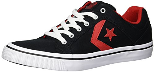 Converse Men's EL Distrito Twill Low Top Sneaker, Black/Enamel Red/White, 9.5 M US