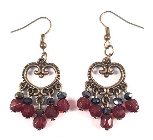Beaded Chandelier Bronze Earrings