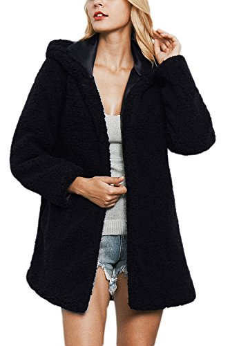 Outcoat Mujer Casual Jacket negro Warm Hoodie La Winter Peluda Faux Fur Botón qAazwnx7