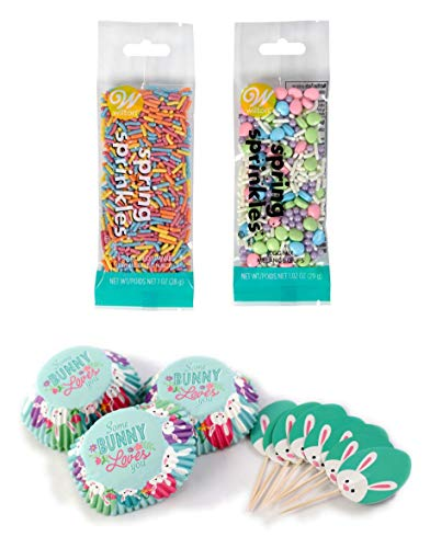 (Happy Easter Some Bunny Loves You 24 Piece Cupcake Baking Cups 24 Topper Picks & 2 Packs of 1 oz Sprinkles Spring Cupcake Baking Decorating Bundle)