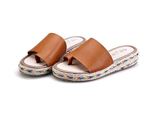 Sandalias y Bohemias con Mujer para Zapatillas Zapatos Romanas Marrón Estudiantes Planas tacón DANDANJIE Chancletas caseros Plano para ECzI5pq
