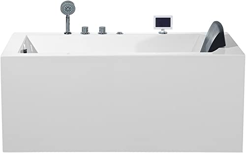 ARIEL Platinum PW1545930LW1 Whirlpool Bathtub 59 x 29.5 x 24.6 Inches Rectangular Jetted Air Bubble Soaker Tub with Left Side Drain and Fitted Back Rest