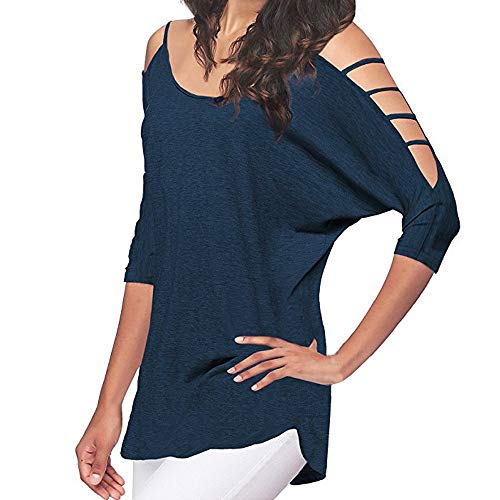 【MOHOLL】 Women's Off Shoulder Shirt Half Sleeve Tunic Top Casual Blouse Navy ()