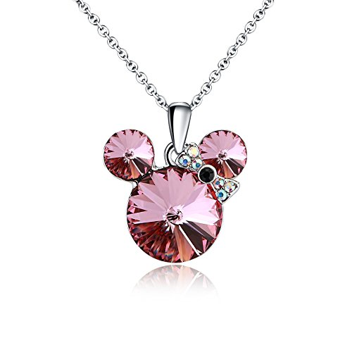 HERAYLI Lucky Mickey Mouse Pendant Necklace for Women/Girls,Made with Swarovski Crystal Necklace Jewelry Gift (Purple)