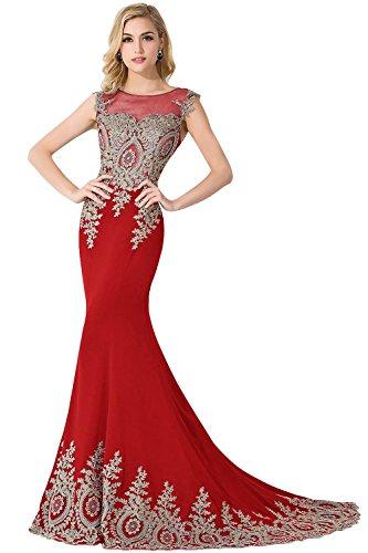 Tüll Damen Applikation Partykleid Ballkleider Rot Lang Mit Babyonlinedress® Ärmellos Abendkleid Meerjungfrau HqAp1