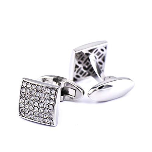 Adisaer Cufflinks Silver Copper Square Cubic Zirconia Men Cufflinks Polished