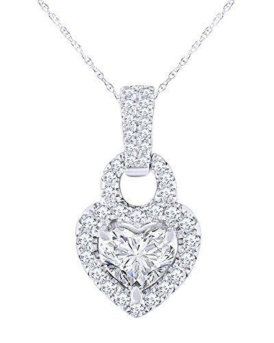 Pave Multi Frame (1 CT Heart Cut Diamond Frame Heart Pendant Necklace in 14K Solid Gold)