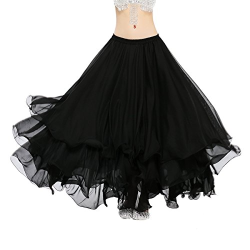 Dance Fairy Belly Dance Skirt Tiered Tribal Maxi Skirt Solid Color Long Skirt for Performance Party,Black(Length-90cm)