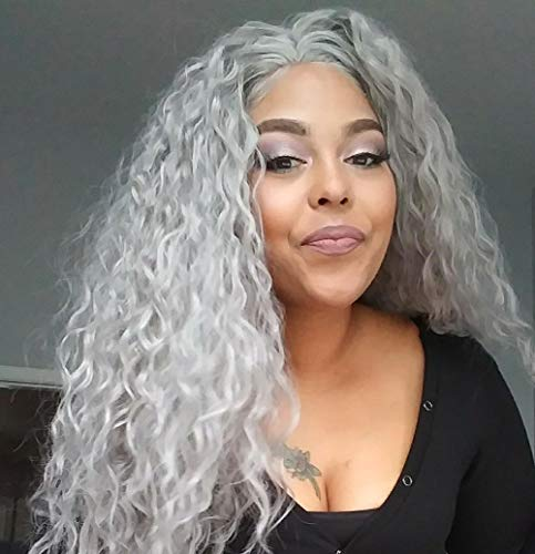 Candice Hair Synthetic Lace Front Wigs Long Loose Curly with Baby Hair Natural Hairline Heat Resistant Fiber Lace Wigs Swiss Natural Gray Wig For Black Women 180% Density 24 Inch -