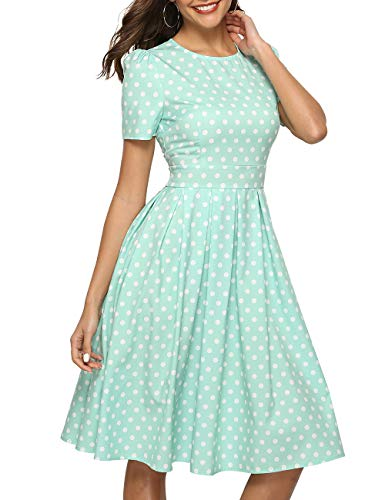 Simple Flavor Women's Floral Summer Midi Dress Vintage Evening Dress Short Sleeve(0012Green,S)
