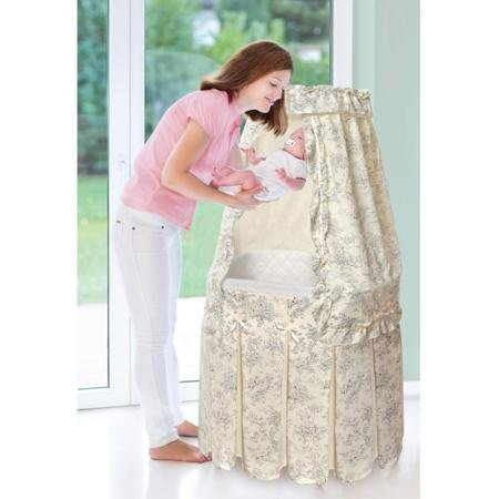 Badger Basket Majesty Baby Bassinet with Canopy, Ecru and