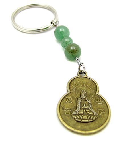 Aventurine Gemstone Keychain - 4th Heart Chakra Green Aventurine Gemstone Beaded Quan Yin Charm Keychain Key Chain Bag Charm Zipper Pull
