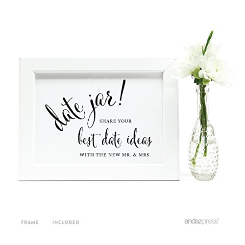 (Andaz Press Wedding Framed Party Signs, Formal Black and White, 5x7-inch, Date Jar Share Your Best Date Idea with The New Mr. & Mrs. Sign, 1-Pack, Includes)