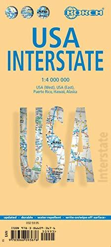 Folding Map - Laminated USA Interstate Map by Borch (English Edition)