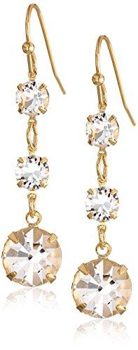 Drop Linear Crystal Earrings - 1928 Jewelry 14k Gold-Dipped Genuine Swarovski Crystal Linear Drop Earrings