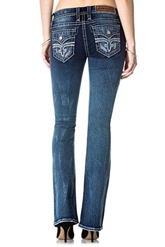 Rock Revival Jeans Women's julee B225 Basic Reversed Fluer De Lis Dark Wash Boot Cut (31) Destructed Bootcut Jeans