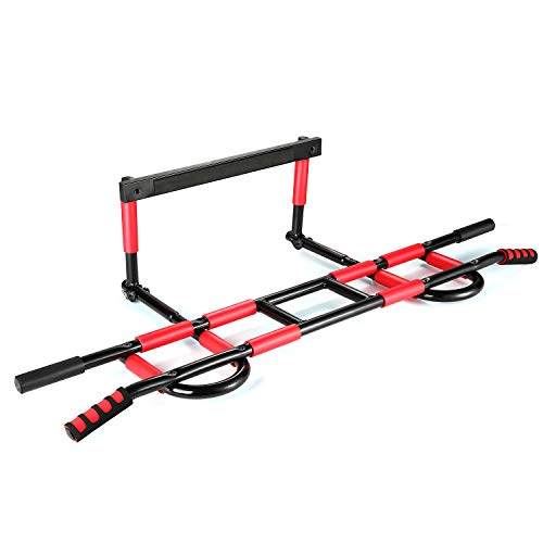 Profit Fitness Foldable Doorway Pull Up Chin Up Bar Door Gym Upper Body Workout Trainer Bar Maximum Stability-Weight Load of 600lbs-16 Grip Position-Easy&Quick(6 Screws) to Setup Anywhere Home Workout