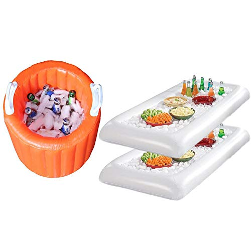 Eanpet Ice Serving Tray Inflatable Food Container Salad Fruit Can Cooler Float for Swimming Pool Lake Party Wedding Outdoor Picnic BBQ (1pc Orange Ice Bucket, 2pcs White Trays)]()